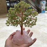 natural olivine quartz gemstone crystal lucky tree reiki healing rough rose gemstone provide energy as for gift fengshui