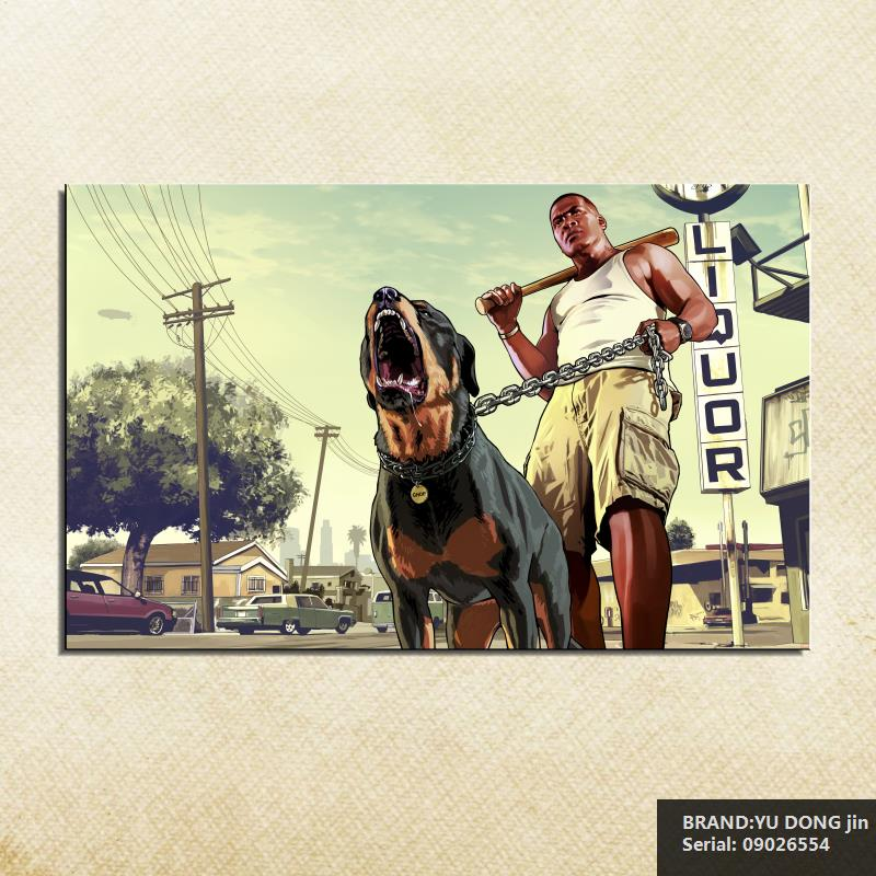 GTA 5 Men Dogs Franklin Portrait Classical oil Painting Drawing art Spray Unframed Canvas scarf figure wire brass wall09026554