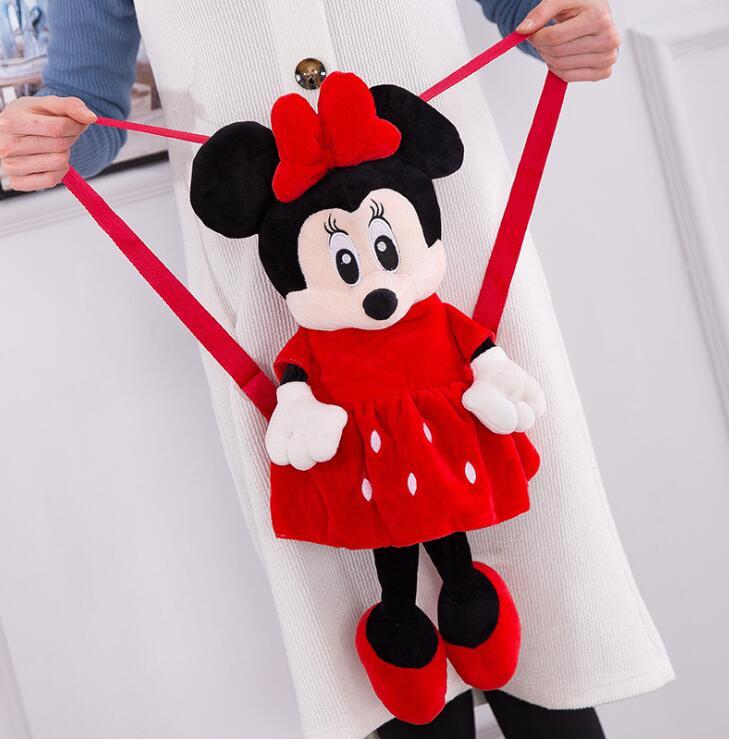 New Cute Cartoon Kids Plush Minnie Backpack Toy Mini School Bag Children's Kindergarten Girl Baby Student Bags Lovely Mochila