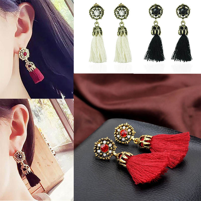 Women Girl Fashion Rhinestone Long Tassel Dangle Earrings Fringe Drop Earrings* Earring Findings Fashion Jewelry