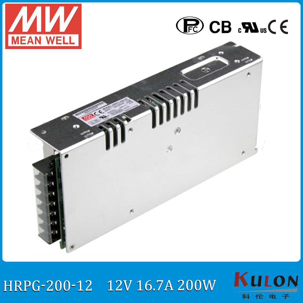 Original MEAN WELL HRPG-200-12 200W 16A 12V meanwell Power Supply 12V 200W low power consumption power supply with PFC function dhl ems 1pc new for ball uff bes m12mf gsc30b s04g