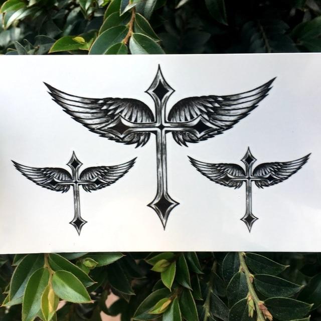 2018 New Waterproof Temporary Tattoo Sticker Black Angel Wing Cross