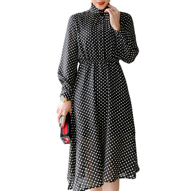 2018 Fashion Polka Dot Slim Waist Chiffon Dresses Female Vintage Pleated Dress Elegant Formal Women Party Dress Hot Selling летние шины bridgestone 225 65 r17 102h ecopia ep850
