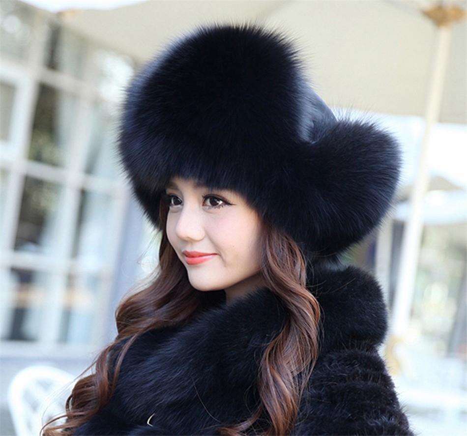 On Sale 100% Real Fox fur Women's Russian Ushanka Aviator trapper snow skiing Hat caps earflap winter raccoon fur Bomber hat 22