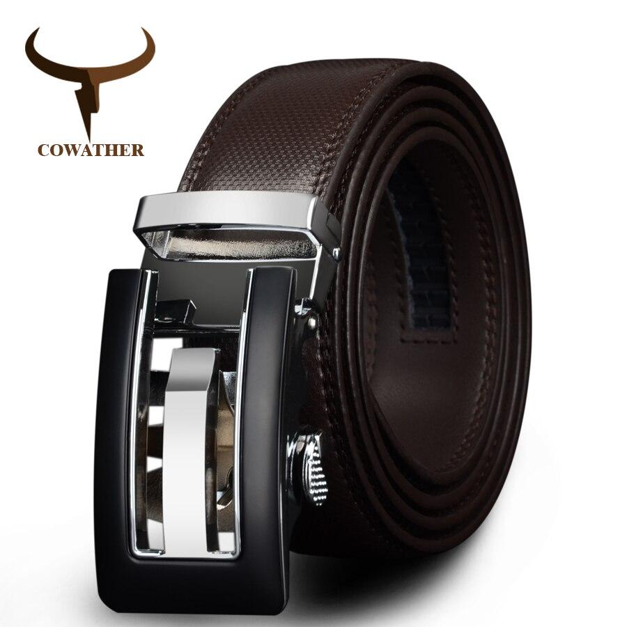 Giyim Aksesuarları'ten Erkek Kemerleri'de COWATHER 2019 hakiki deri kemerler erkekler için yüksek kaliteli kahverengi siyah renk metal otomatik toka askı erkek kot kovboy CZ045