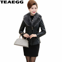 TEAEGG Faux Short Black Leather Fur Jackets Plus Size 4XL 5XL New Pu Women Winter Leather Coat Jaqueta De Couro Feminino AL718
