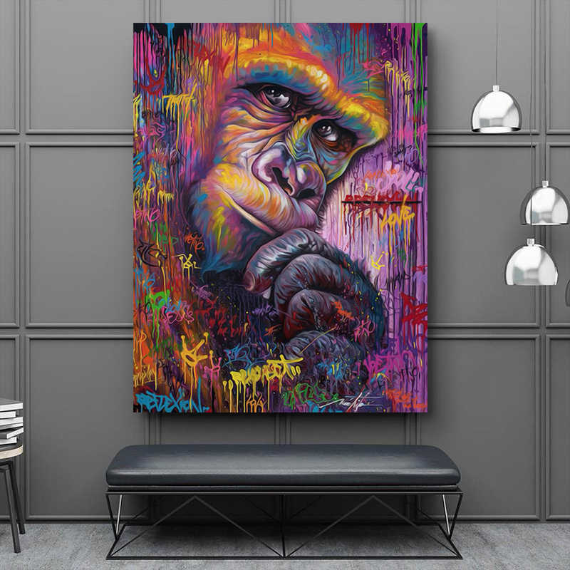 Animal Canvas Painting Gorilla Graffiti Art Wall Prints Poster Abstract Art Monkey Wall Pictures For Living Room Unframed