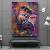 RELIABLI ART Affe Gorilla Tier Graffit Abstrakte Kunstwerk Leinwand Malerei Wand Kunst Für Wohnzimmer Moderne Dekoration Unframed