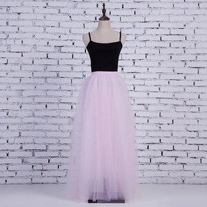 Image 4 - Falda larga de tul de 4 capas para mujer, tutú de estilo de hadas, princesa elegante, Vintage, acampanada, 100cm