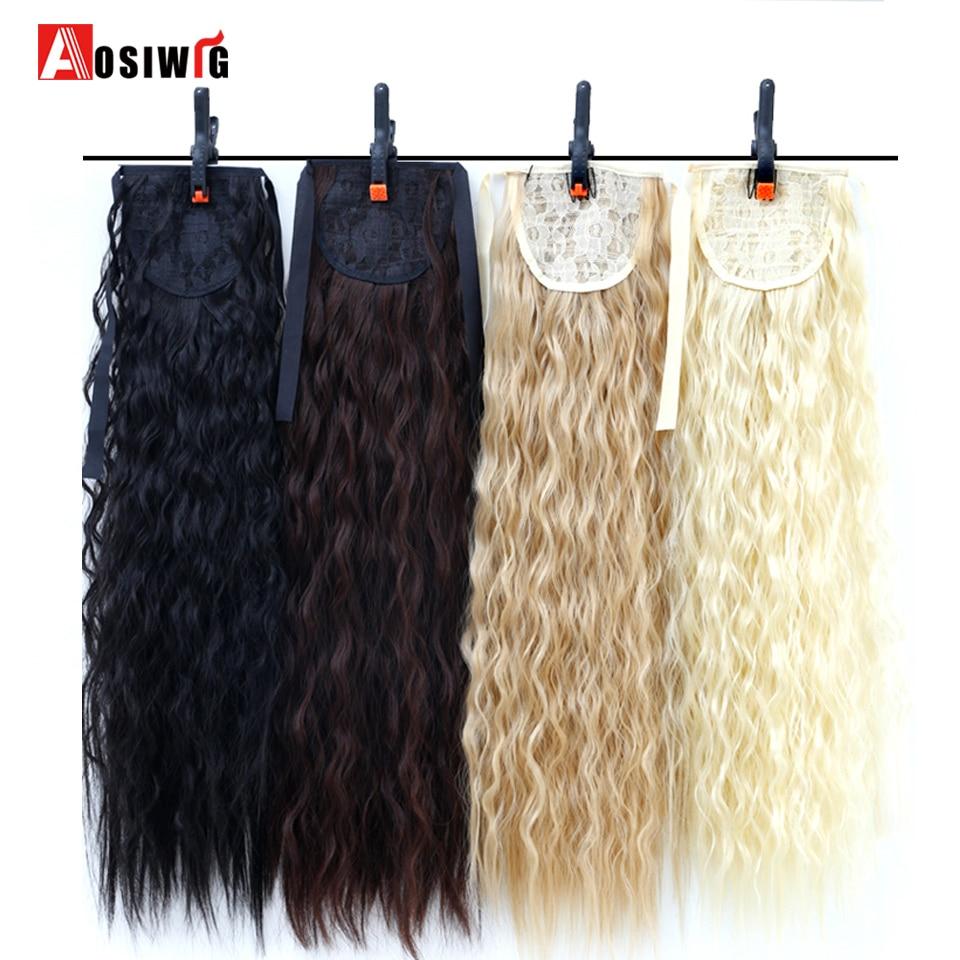 22 tum lång vågig hästsvans för svarta kvinnor vin röda hår - Syntetiskt hår - Foto 1