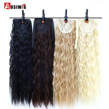22 tum lång vågig hästsvans för svarta kvinnor vin röda hår värmebeständiga syntetiska falska hårbitar AOSIWIG
