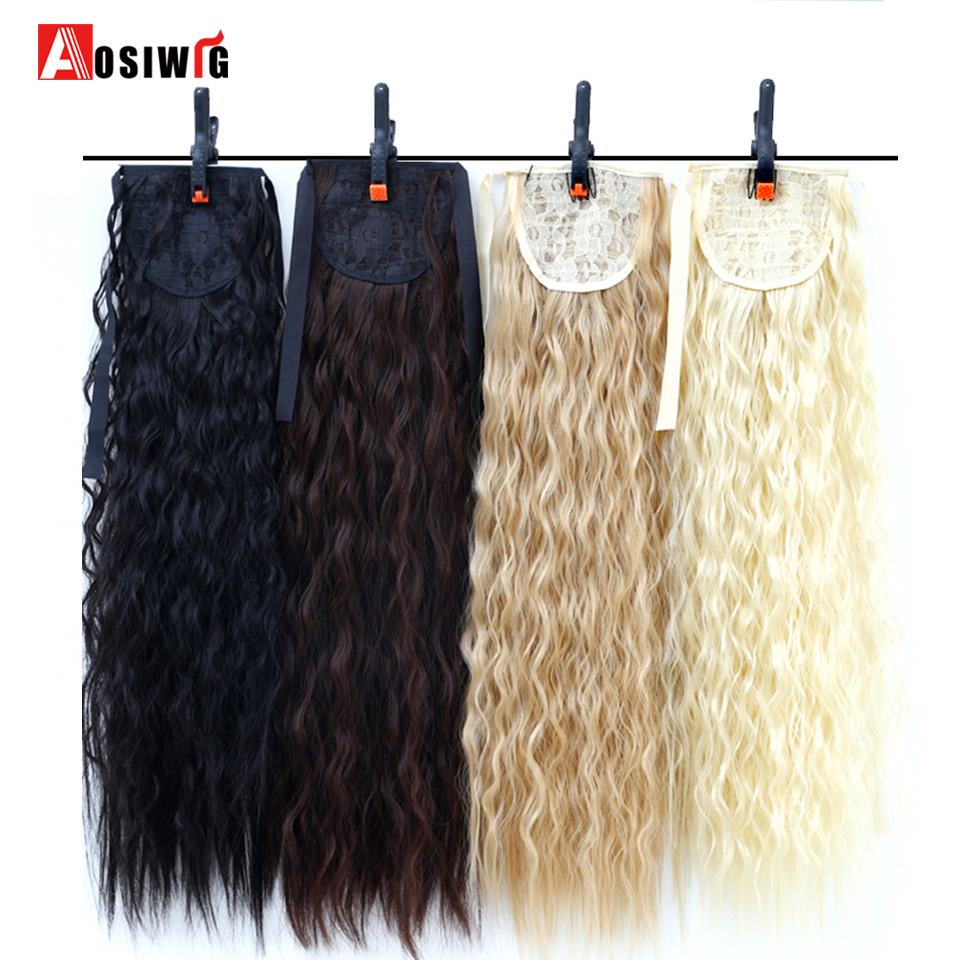 22 inch Long Wavy Ponytail For Black Women Wine Red Hair Heat Resistant Synthetic Fake Hair Pieces AOSIWIG