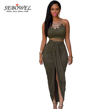 SEBOWEL 2020 Two Piece Skirt Set Female Maxi Party Club High Split Draped Pleated Crop Top + Long Skirts Summer Women Outfits marled knit crop top with split skirt