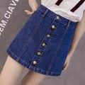 2017 verão novo estilo sexy das mulheres do vintage uma linha saia jeans botão frontal de cintura alta denim saia busto feminino #9931