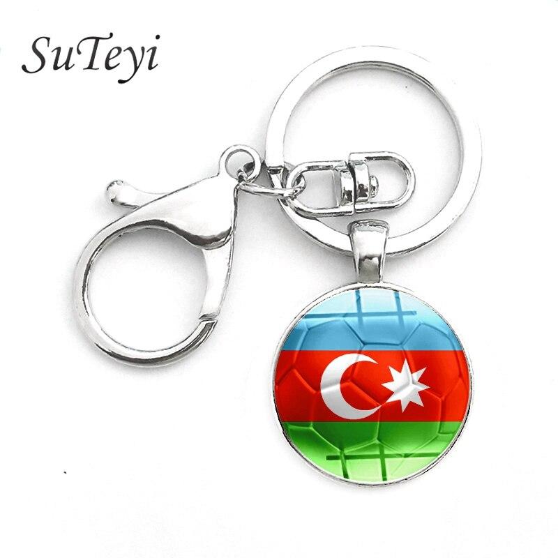 US $0 99 50% OFF Azerbaijan Flag Pattern Pendant Key Chain Egypt/Ethiopia  Flags Silver Color Crystal Keychain Football Fans Handmade Jewelry-in Key