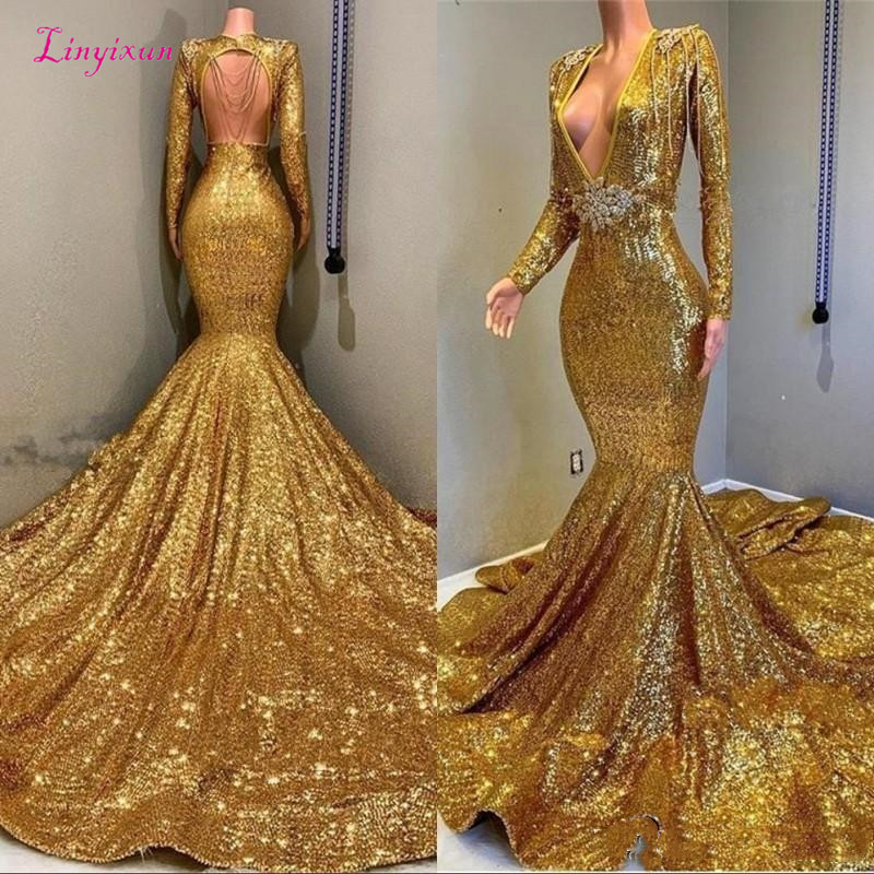 Mermaid Backless Prom Dresses Cheap V-neck Long Sleeves Sequined Bling Bling Bead Floor Length Evening Wear Gowns