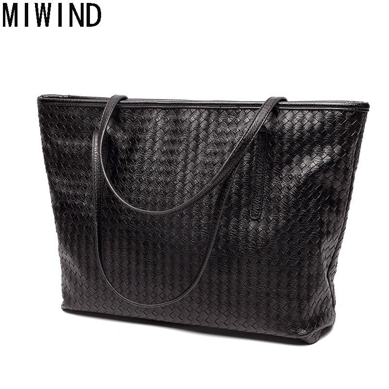 MIWIND Women Shoulder Bag PU leather Compsite Bag Large Capacity Tote Bag Famous Brand handbag Feminina Bolsas Vintage TXL1155