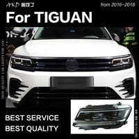 АКД стайлинга автомобилей для VW Tiguan фары автомобиля Новинка 2017 года Tiguan L светодио дный светодиодные фары DRL Hid фара ангел глаз би ксеноновые