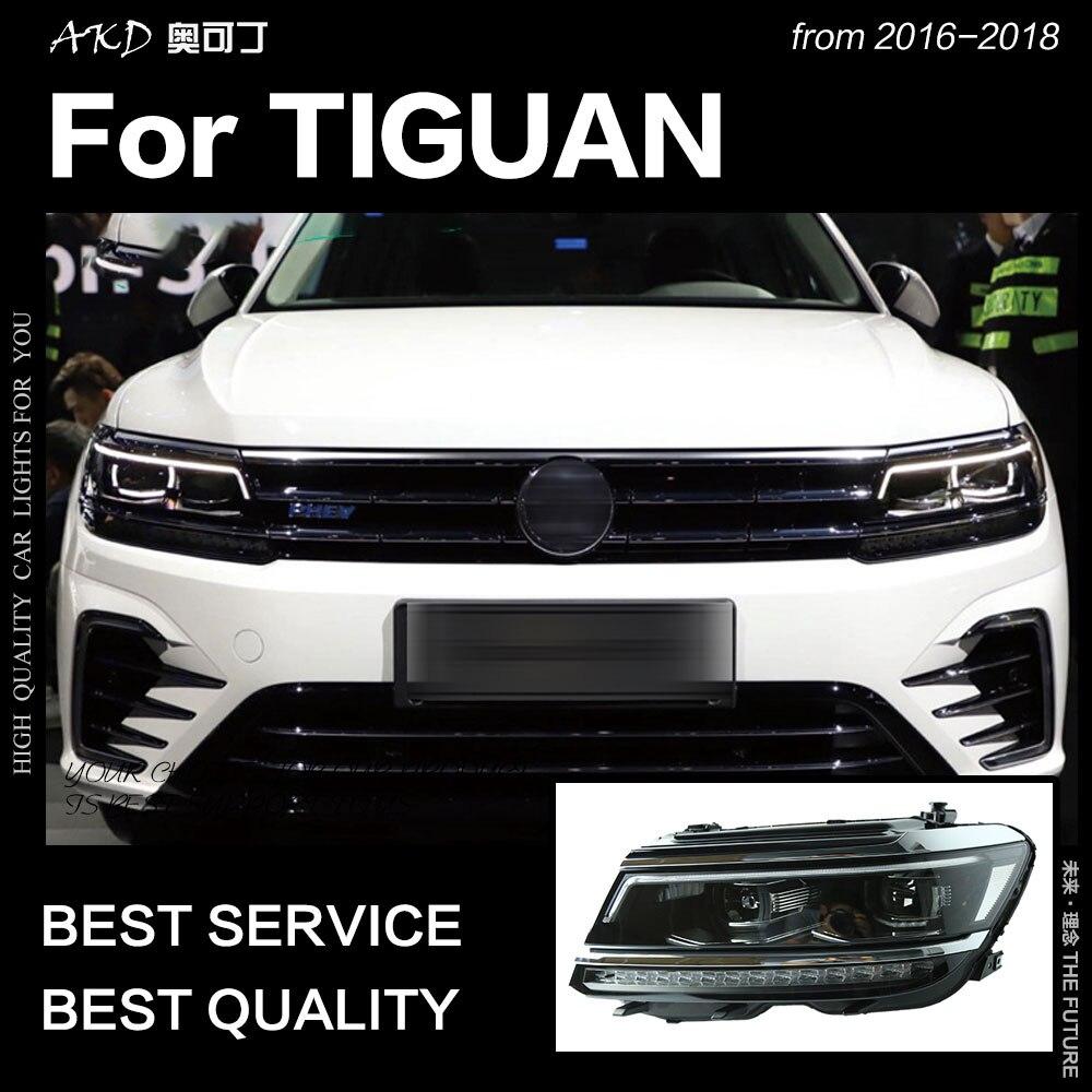 AKD Voiture pour VW Tiguan Phares 2017 Nouveau Tiguan L LED Phare DRL Caché Lampe Frontale D'oeil D'ange Bi faisceau xénon Accessoires