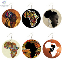 SOMESOOR New Arrival African Map Wood Ethnic Earrings Jewelry Afro Tears Headwrap Woman Black Queen Vintage Painted Ear