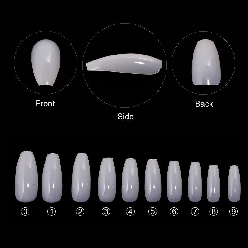 600pcs bag False Nails Display Tips Acrylic Ballerina Artificial Transparent Natural Guide Capsule Stiletto Full Cover Fake Nail in False Nails from Beauty Health