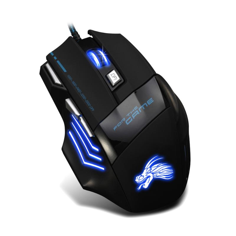 Wired Gaming Mouse Professional 7 Buttons Adjustable 5500DPI USB Cable LED Optical Gamer Mouse for PC Computer Laptop Mice Black gaming usb wired mouse zelotes c 12 programmable buttons led optical usb gaming mouse mice 4000 dpi souris sans fil