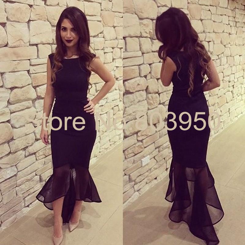 Aliexpress.com : Buy Black Robe De Soiree Short Front Long Back ...