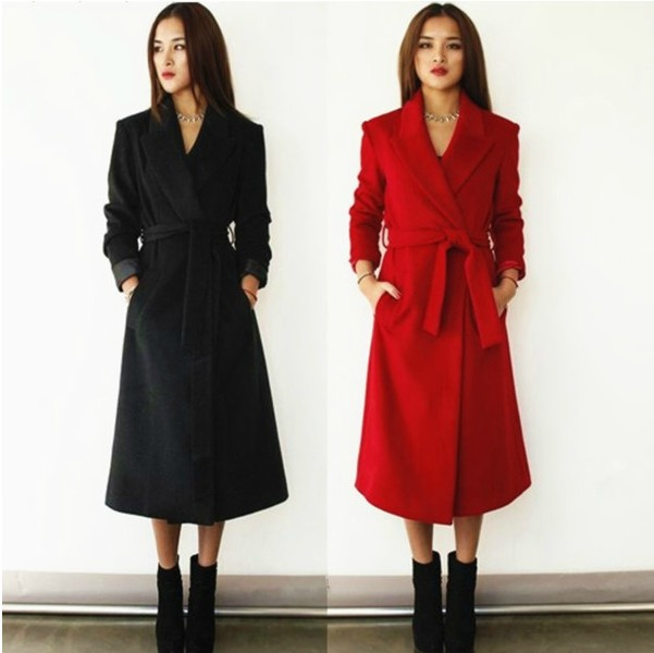 S Noir Longue Manteau rouge Col Turn Plus La Down Pardessus D'hiver Automne Cachemire Taille Tranchée De Mince Outwear xxxl Long Femmes Laine 2018 r1BXwqUAr