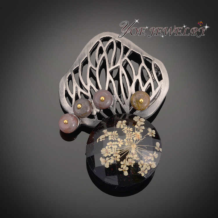 Iyoe Vintage Bros & Pin dengan Batu Alam Antik Motif Bunga Pohon Bros Liontin Wanita Fashion Aksesoris
