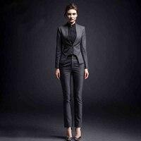 Комплект из 2 предметов строгие брюки костюм с карманом Для женщин Повседневная Обувь Офисная женская форма Стиль Бизнес куртка с свободные