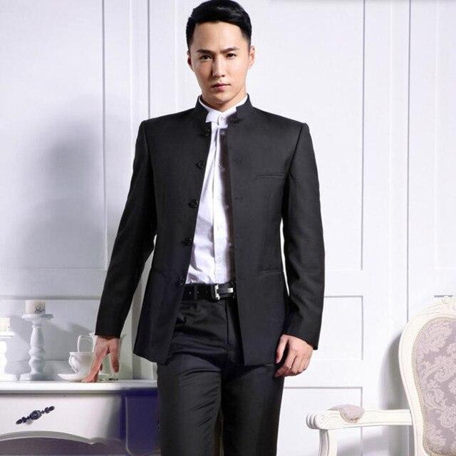 95cb5715efa1 Индивидуальный заказ для мужчин костюмы Мода Жених смокинги для женихов  черный воротник стойка свадебные формальные бизнес