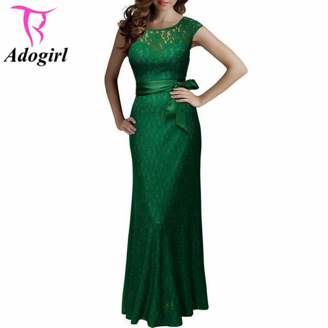 f8dbc30e88 Plus Size Lace Floor Length Women Formal Occasion Dress Backless Sleeveless  Pinup Slim Belted Big Size XXL Party Dress Evening