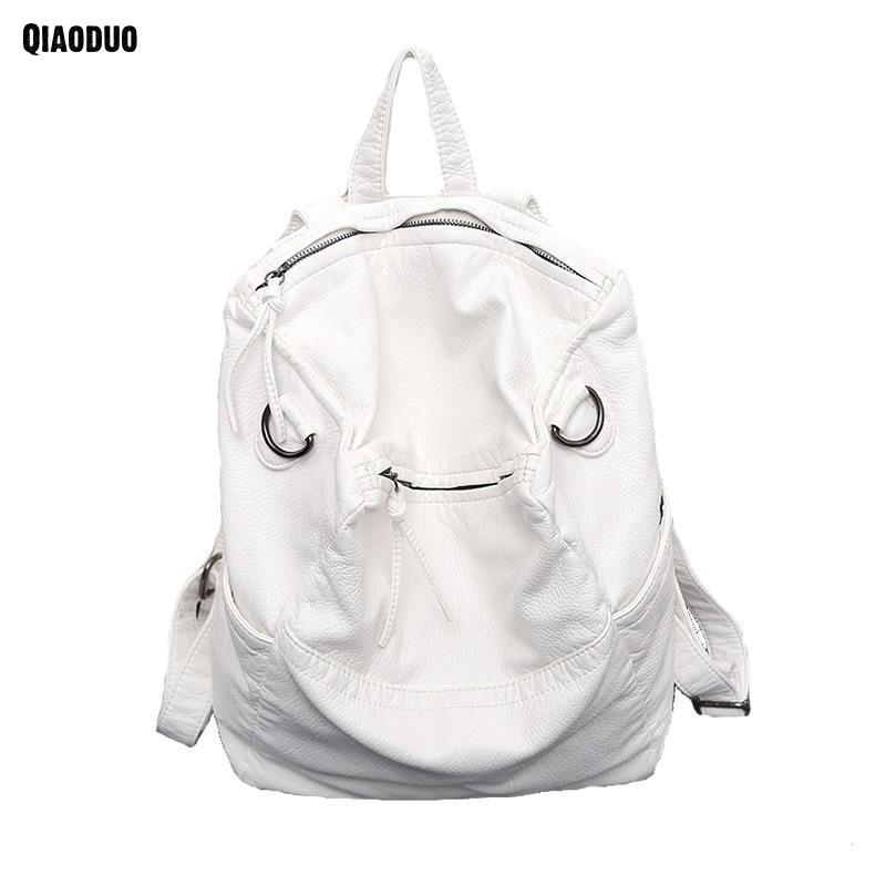 Backpack Women Soft Washled Leather Female Shoulder Bag New Design Large Capacity Travel Schoold Bags Black White Women Bag
