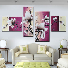 hand paint 4 panels canvas wall painting Purplish red decorative flower paintings modern living room decor pictures sets