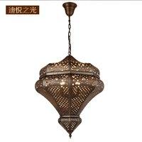 Медь светодио дный люстры для гостиной Винтаж Арабская ресторан стиль спальни украшения Медь лампа