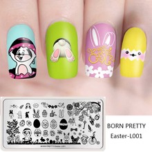 BORN PRETTY Rectangle Nail Stamping Plates Cute Rabbit Pattern Stamp Image Template Stencil DIY Design Easter Manicure