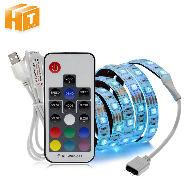 5 V RGB LED Streifen 5050 mit USB Controller Für TV Hintergrund Beleuchtung Musik Steuerung/Bluetooth/RF 17Key /mini 3Key Set.