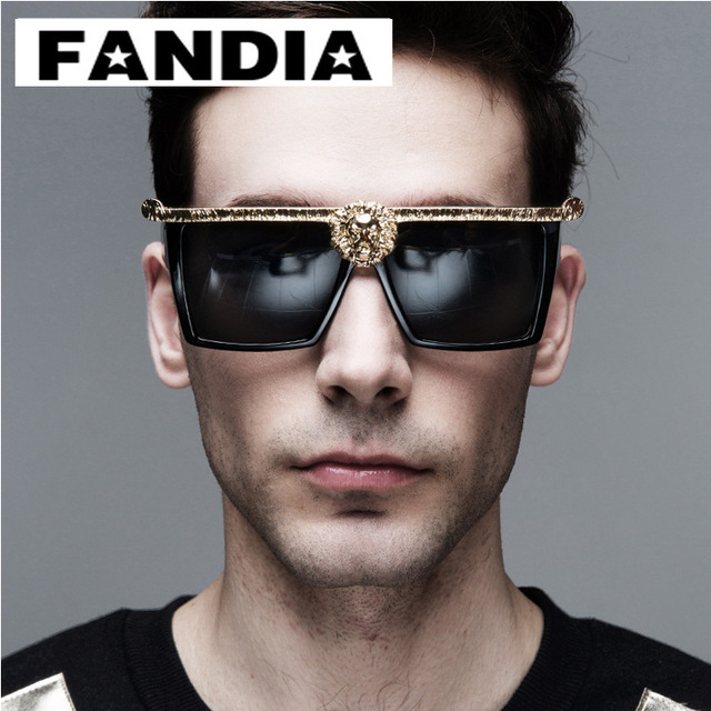 8fcb0a89ecba Medusa Anna-Karin Karlsson men sunglasses Gold 3D Lion fashion brand  designer sun glasses eyewear oculos masculino