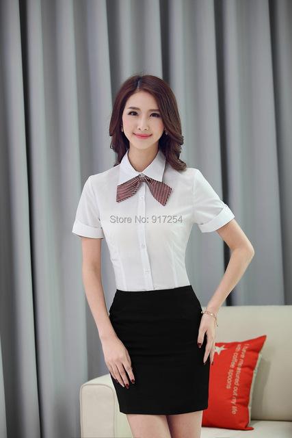 Formal branco elegante das mulheres de negócio trabalho ternos blusas e saia fardas escritório senhoras OL blusas Tops ternos 2015 verão
