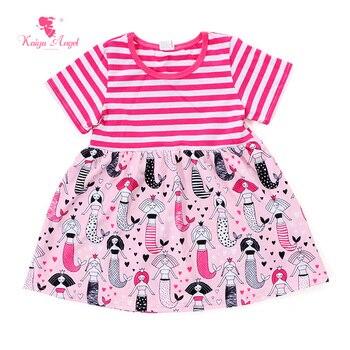 Kaiya Angel White Watermelon Stripe Dress Character Summer Kids Girls Clothes Dresses 2017 Children Kids Clothes For Girls