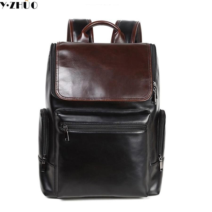 Crazy horse leather man backpack brand travel duffel bag business men shoulder bag large vintage Laptop bag sacoche homme
