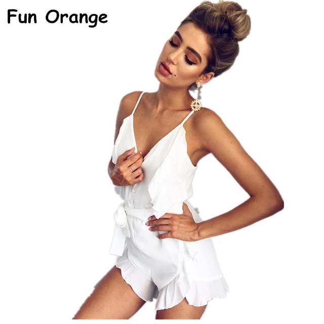 3d06122e9fb4 placeholder Fun Orange V Neck Ruffle Bow High Waist Satin Women Jumpsuit  Romper Sexy Sleeveless Loose Jumpsuit