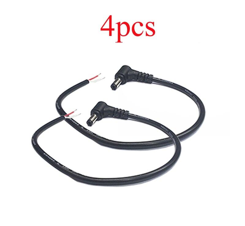 4PCS 30cm Elbow DC Power Cable 5.5*2.5mm Male Plug Line