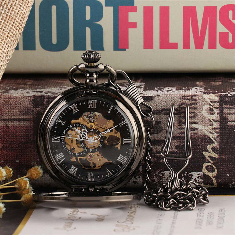 1PC Vintage Automatic Mechanical Pocket Watch Men Hollow Exquisite Chain Smooth Case Pendant Watches Mens Retro Black Hour Clock otoky montre pocket watch women vintage retro quartz watch men fashion chain necklace pendant fob watches reloj 20 gift 1pc