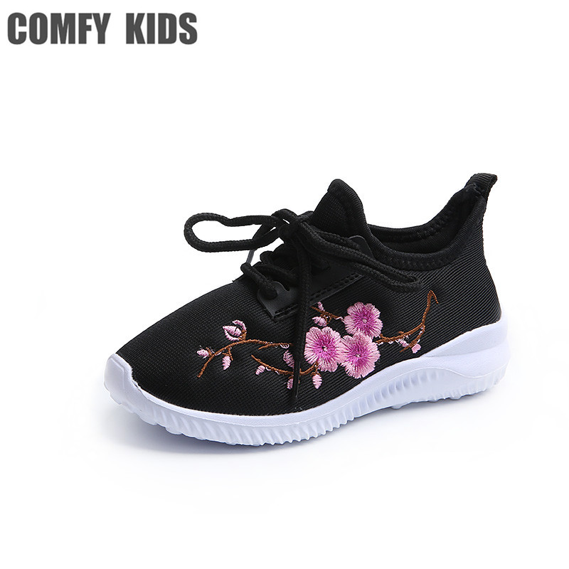 Comfy Kids Shoes 2018 new Fashion girls sneakers floral embroidery sport sneakers children ultra-light comfortable shoes