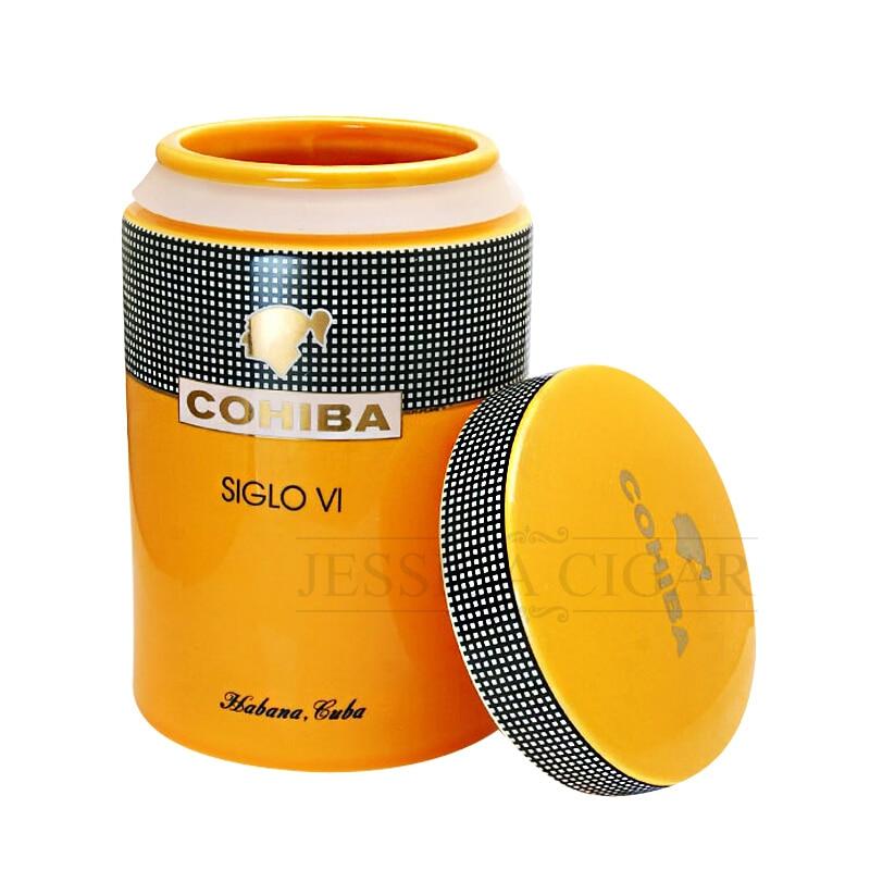 COHIBA Ceramic Cigar Humidor Jar Cigars Tube 5 10 Fingers Cigar Case Box Travel Tobacco Humidors