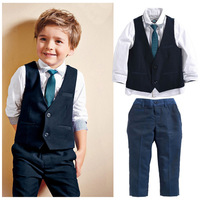 Fashion 4 Piece White Shirt + Navy Vest + Long Pants + Tie Boys Autumn Set Kids Boys Wedding Clothes 1 2 3 4 5 6 Years