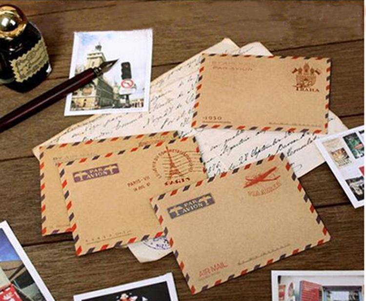 50PCS Mini Gifts Envelope Retro Postcard Letter Stationary Storage Brown Kraft Paper Vintage Envelopes School Supplies Wholesale