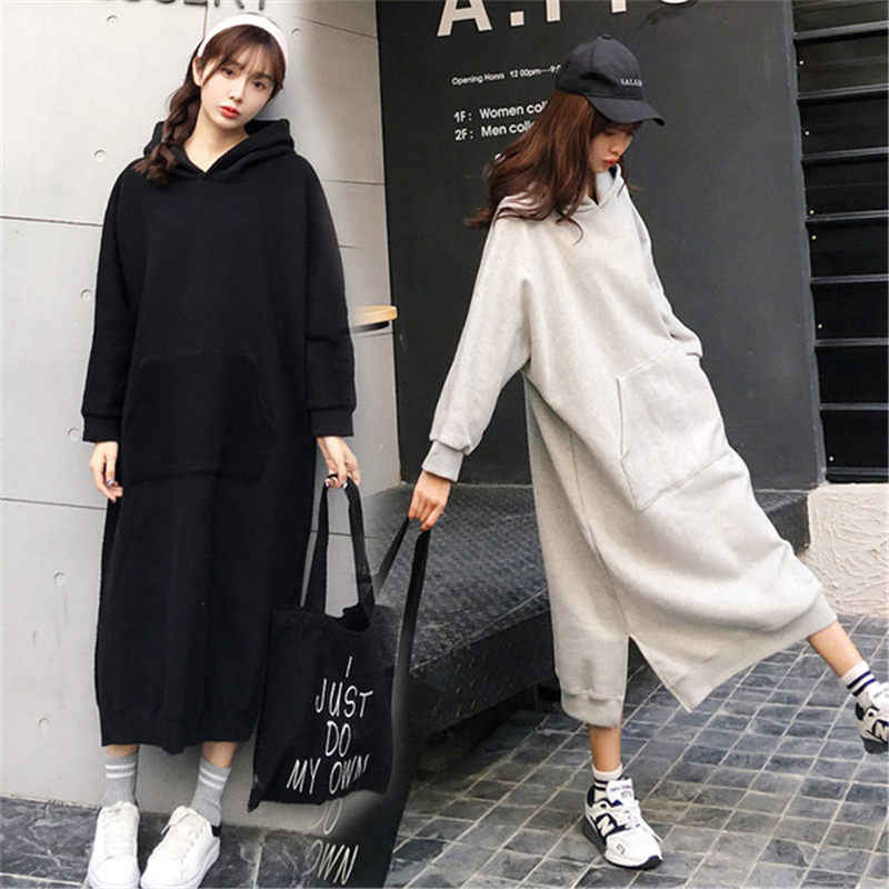 Autumn New Korean Long Section Large Size Loose Sweatshirt Long Sleeve Spring Hoodies Coat Casual Solid Vestidos For Women f1321