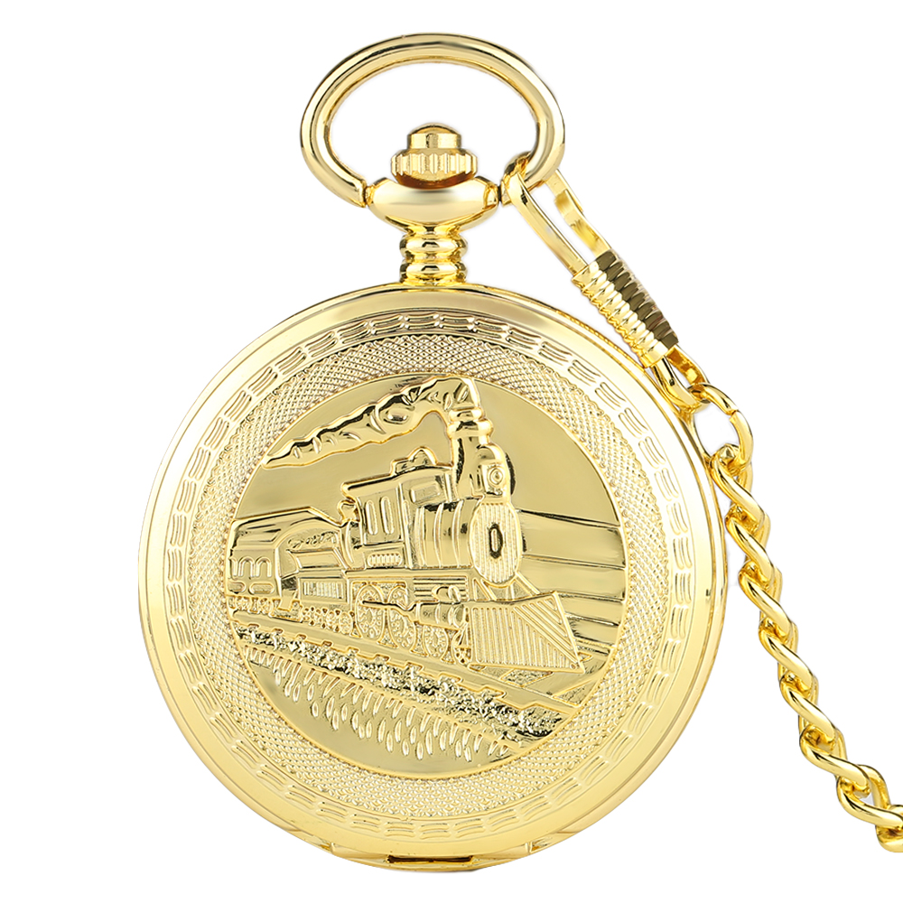 Golden Double Hunter Mechanical Hand-winding Fob Pocket Watches with Chain Train Locomotive Roman Numeral Clock silver retro train locomotive engine design pocket watch mechanical pocket watch with double hunter women men relogio de bolso